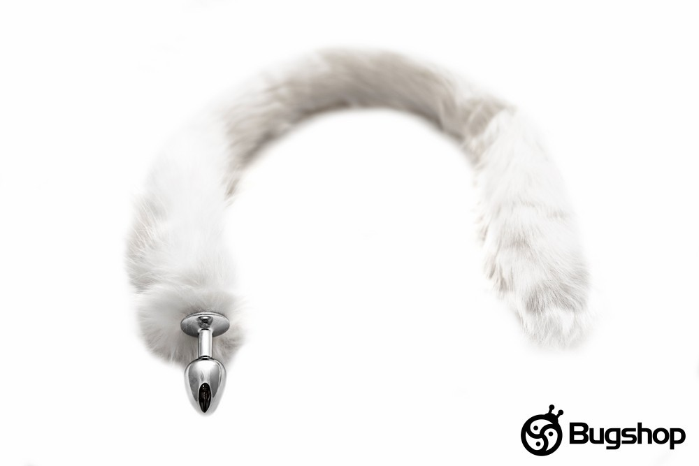 Kovový anální kolík s ocasem - dlouhý